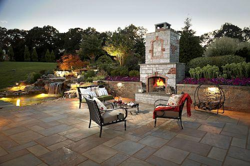 patio with lighting and fireplace in northern virginia